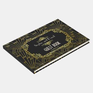 Livro De Visitas Preto & Wedding do art deco de Gatsby do ouro