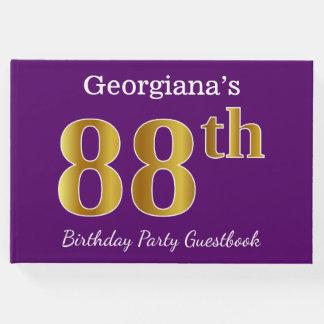 Livro De Visitas Roxo, festa de aniversário do ouro 88th do falso;