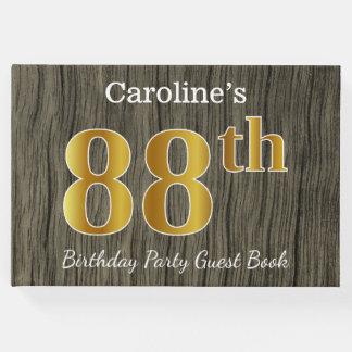 Livro De Visitas Rústico, festa de aniversário do ouro 88th do
