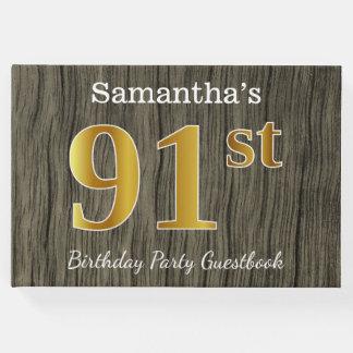 Livro De Visitas Rústico, festa de aniversário do ouro 91st do