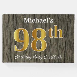 Livro De Visitas Rústico, festa de aniversário do ouro 98th do