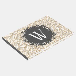 Livro De Visitas Teste padrão floral do ouro com obscuridade -