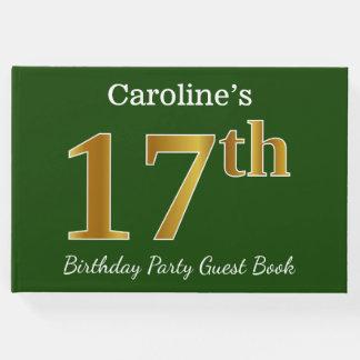 Livro De Visitas Verde, festa de aniversário do ouro do falso 17a +