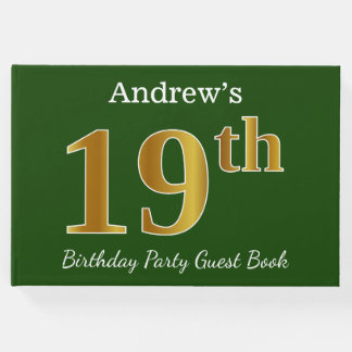 Livro De Visitas Verde, festa de aniversário do ouro do falso 19a +