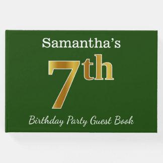 Livro De Visitas Verde, festa de aniversário do ouro do falso 7a +