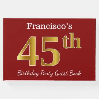 Livro De Visitas Vermelho, festa de aniversário do ouro 45th do
