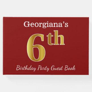 Livro De Visitas Vermelho, festa de aniversário do ouro do falso 6a