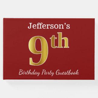 Livro De Visitas Vermelho, festa de aniversário do ouro do falso 9a