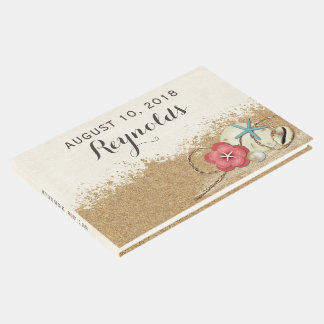 Livro De Visitas Wedding do hibiscus & dos escudos do Sandy Beach