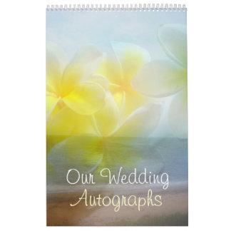 Livro do autógrafo do casamento do Frangipani Calendário