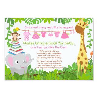 Livro do chá de fraldas da menina do safari dos convite 8.89 x 12.7cm