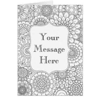 Livro para colorir adulto cartão personalizado