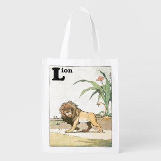 Livro Prowling da história do leão Sacola Reusável