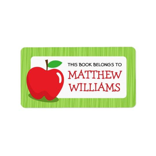 Livro textured verde-maçã vermelho do bookplate da etiqueta de endereço