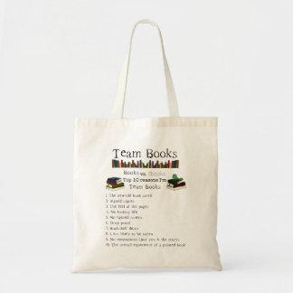 Livros da equipe sacola tote budget