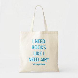 Livros da necessidade como eu preciso o ar (o ar bolsa tote