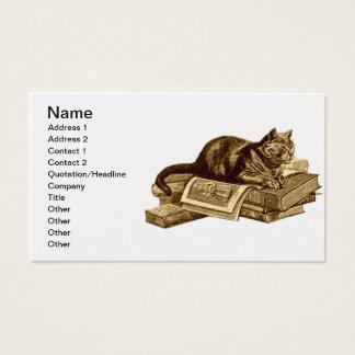 Livros de leitura do gato do gatinho do leitor cartão de visitas