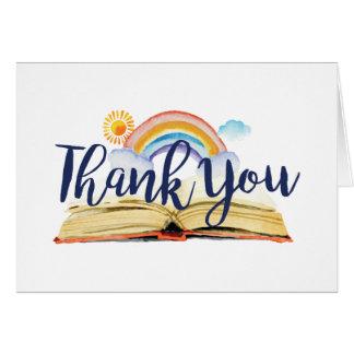 Livros e cartões de agradecimentos da refeição