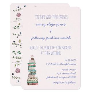 Livros & flores que Wedding convites