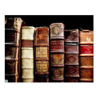 Livros obrigatórios de couro do design do século cartão postal