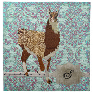 Llama Damask Monogram Napkin
