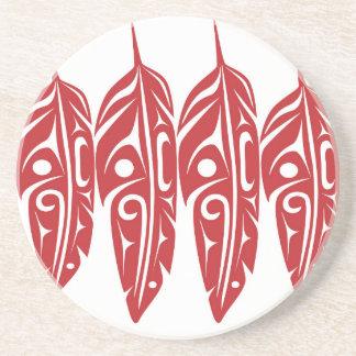LNeel-Quatro-Pena-Vermelho-Branco Porta Copos De Arenito