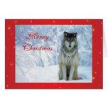 Lobo bonito no cartão de Natal feito sob encomenda