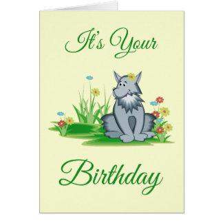 Lobo cinzento retro no cartão do aniversário do