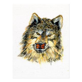 Lobo com cartão da borboleta
