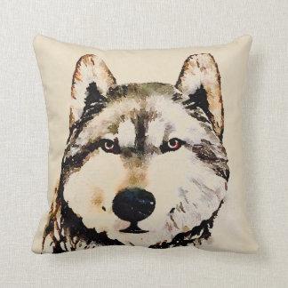 Lobo de madeira da natureza almofada
