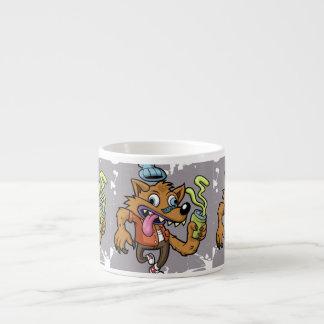 Lobo do hipster dos desenhos animados com soda xícara de espresso