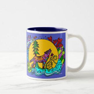 Lobo do urro do caleidoscópio - azul caneca