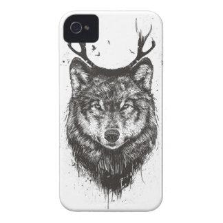 Lobo dos cervos (preto e branco) capa para iPhone 4 Case-Mate