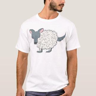 Lobo estranho dos desenhos animados no couro cru camiseta