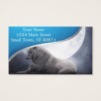 Lobo impressionante e lobo branco da lua cartão de visitas