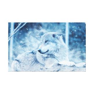 lobo no impressão da neve