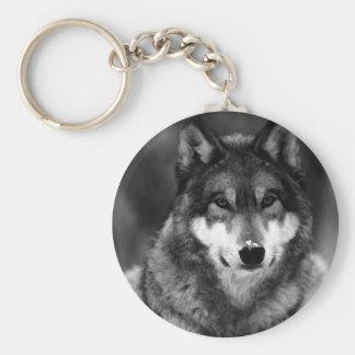 Lobo preto & branco chaveiro