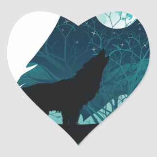 Lobo que urra com floresta adesivo coração