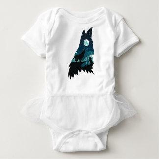 Lobo que urra com floresta body para bebê