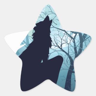 Lobo que urra com Forest2-01 Adesivo Estrela