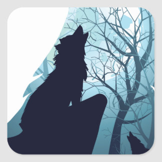 Lobo que urra com Forest2-01 Adesivo Quadrado
