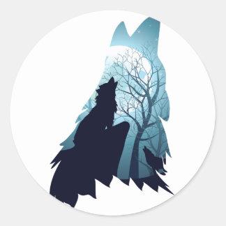 Lobo que urra com Forest2-01 Adesivo Redondo