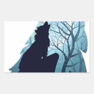 Lobo que urra com Forest2-01 Adesivo Retangular
