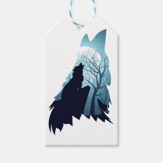 Lobo que urra com Forest2-01 Etiqueta Para Presente