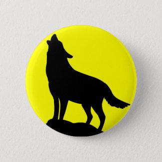 Lobo que urra na lua bóton redondo 5.08cm