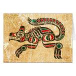 Lobo riscado e vestido do espírito do Haida Cartões