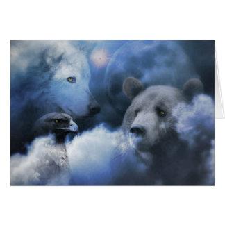Lobo, urso e cartão do Xmas de Eagle boas festas