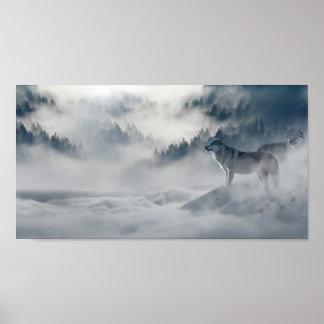Lobos no impressão do poster do inverno