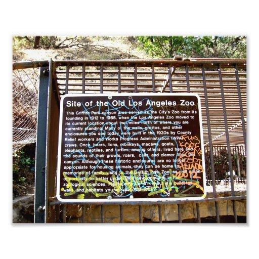 Local do sinal velho do jardim zoológico de Los An Impressão De Fotos