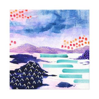 Loch escocês abstrato colorido canvas impressas